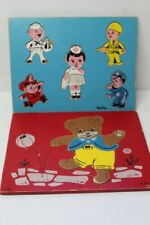 2 Vintage Sifo Wooden Children's Puzzles In Tray 1950s - Careers And Bear