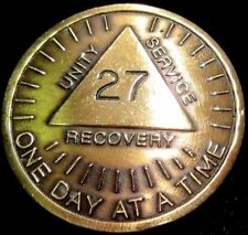 Alcoholics Anonymous AA 27 Year Sunshine Bronze Medallion Token Chip Coin Sober