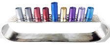 Menorah Hanukkah Aluminum textured silver.Branched Colorful Chanukah israel L-8""