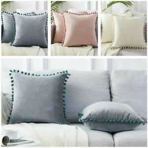 2Pcs Soft Cotton Cushion Cover Pom Poms Home Decorative Sofa Car Pillow Case UK