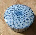 Asahi+Japan+Vintage+Ceramic+MCM+Trinket+Jar+Jewelry+Decor+Blue+White+Small+Vanit