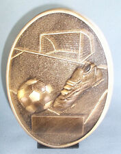 soccer self standing oval resin trophy award