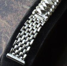 Steel vintage watch beads link bracelet 15mm 15.5mm or 16mm ends 1950s/60s NOS