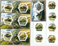 TANKS WWII World War II SET 6 hexagon stamps + 4 s/s Tchad #tchad2014-51s IMPERF