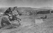 Bill Aller of Pocatello Roping Cow Rockland, Idaho Annual Rodeo c1950s Postcard