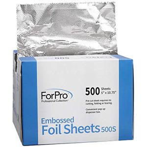 ForPro Embossed Foil Sheets 500S, Aluminum Foil, Pop-Up Dispenser, for Hair and