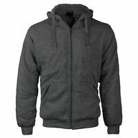 Men's Athletic Soft Sherpa Lined Fleece Zip Up Hoodie Sweater Jacket 3XL