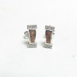 Estate 18K White And Rose Gold Brilliant Cut Diamond Stud Earrings 0.10 Cts