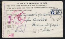 1944 1/- Prisoners Of War censored lettersheet to Italy, Myrtleford Camp