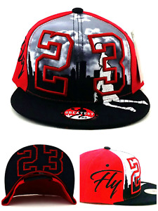 Chicago New Youth Kids 23 MJ Jordan Bulls Red Black Skyline Era Snapback Hat Cap