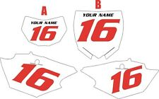 2014-2018 Yamaha WR250F Pre-Printed White Backgrounds with Red Numbers