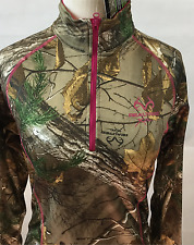 Realtree Jacket Women Medium NWT Pink Pullover Half Zip Fleece Lined Spandex New