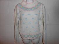 Women's Vintage Easter Pastel Fairy Kei Kawaii Mock Neck Cropped Sweater Medium