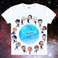 Cosplay Anime YURI!!! on ICE Casual Unisex White Short Sleeve T-Shirt Tops #15