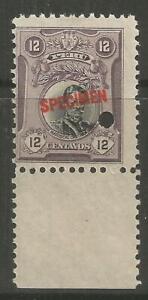 """STAMPS-PERU. 1918. 12c Castilla Overprinted """"SPECIMEN"""" 11mm. SG: 412 var. Unused"""