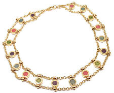Authentic! Bulgari Bvlgari 18k Yellow Gold Coral Amethyst Agate Link Necklace