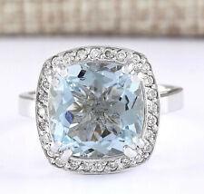 4.63 Carat Natural Aquamarine 14K White Gold Diamond Ring