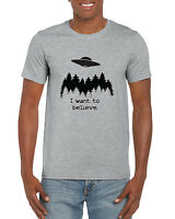 """I want to believe."" Novelty X Files TV Aliens UFO Inspired Sightings T-Shirt"