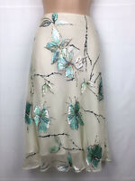 H & M Silk Blend Skirt Eu 40 Uk 12 Floral Lined Ivory Green Beautiful Great Cond