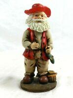 "7"" Christmas Holiday Santa Clause Bobble Head with Fish Fisherman Fishing"