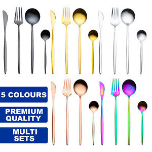 Premium Modern Cutlery Set Finest Quality Polished Stainless Steel 5 Colours