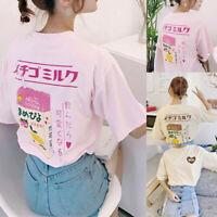 Women Girl Japanese Kawaii Strawberry Milk Box Graphic T-shirt Short Sleeve Top