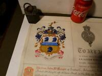 1887 William John McNeight Palmerston Park ULSTER GRANT OF ARMS Boxed