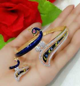Glossy Diamond Peacock Charm Bracelet With Ring For Women & Girl's Fashion Wear