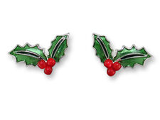 Zarah CHRISTMAS HOLLY Post EARRINGS Silver Plated Enamel Stud - Gift Wrapped Box