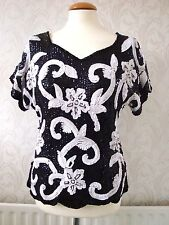 """Vintage Frank Usher Black/White Silk Beaded and Sequin Top. Bust 34""""  Small"""