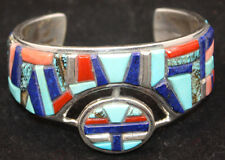 Zuni Bracelet Beveled Inlay Turquoise Lapis Coral Sterling Silver Indian