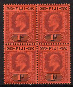 FIJI 1904-09 1d PURPLE & BLACK IN BLOCK OF FOUR SG 116 MNH.