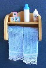1:12 Scale Towels On A Rail With Nursery Accessories Dolls House Bathroom