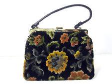 Hand Bag Needlepoint Floral Tapestry Purse Antique Vintage
