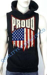 Men's Proud US Flag Biker Black Vest Hoodie Sweatshirt USA American gym workout