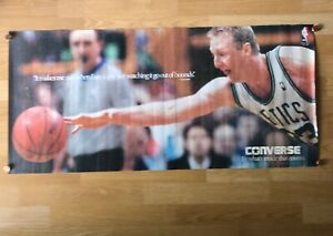 "*RARE* Vintage Larry Bird Converse Poster 39""x18"" Boston Celtics VG, NBA"
