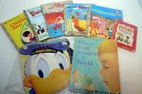 Vintage Lot 8 Children's Book Little Golden Books Walt Disney Donald Duck Elf
