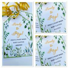 5 x Personalised Green Floral Mini wine bottle Tags processo Baby Shower Labels