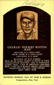 Red Ruffing Signed Baseball HOF Yellow Plaque Autographed Yankees JSA