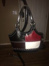 Boutique Bought White Brown Leather Patch Purse Handbag