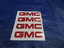 "GMC TRUCK RIM CENTER CAP  DECAL EMBLEM STICKER 3""  RED / CHROME SET OF 4"