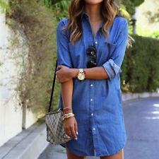 Women Mini Denim Jeans Dress Button Pocket Mini Shirt Wrap Dress Size 6 - 16