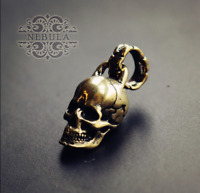 Handmade Brass Skull Motorcycle Keychain Pendant Key Ring Gift