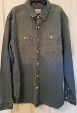 NEW American Eagle AE Mens Classic Denim Washed Blue Button Shirt XXL 2XL