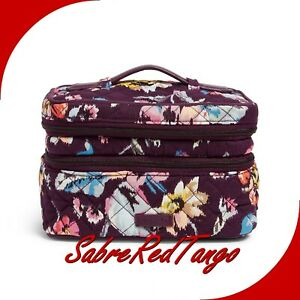 NWT VERA BRADLEY COSMETIC ICONIC JEWELRY TRAIN CASE FLORAL INDIANA ROSE