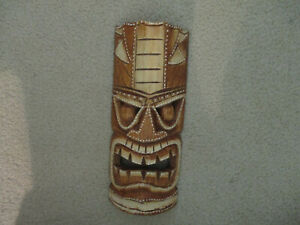 TIKI Mask - Wood Hand Carved Polynesia South Pacific island Maori protector luck