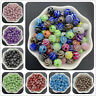 50pcs 8mm Acrylic Spacer Beads Silver Carving Vortex Loose Beads Jewelry Making