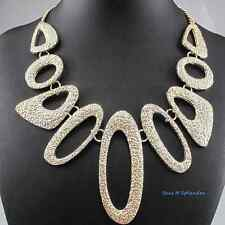 Hammered Loop Link Bib Choker Necklace Gold Metal up to 18 inches