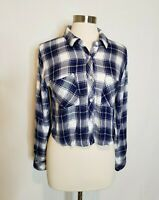 Rails Womens Plaid Cropped Button Down Shirt Size Small Blue and White Crop