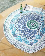 John Robshaw Cita Round Resort Beach Towel Blue White Pom Poms New